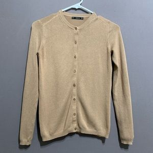 Zara • Women's Camel Color Knit Button Cardigan